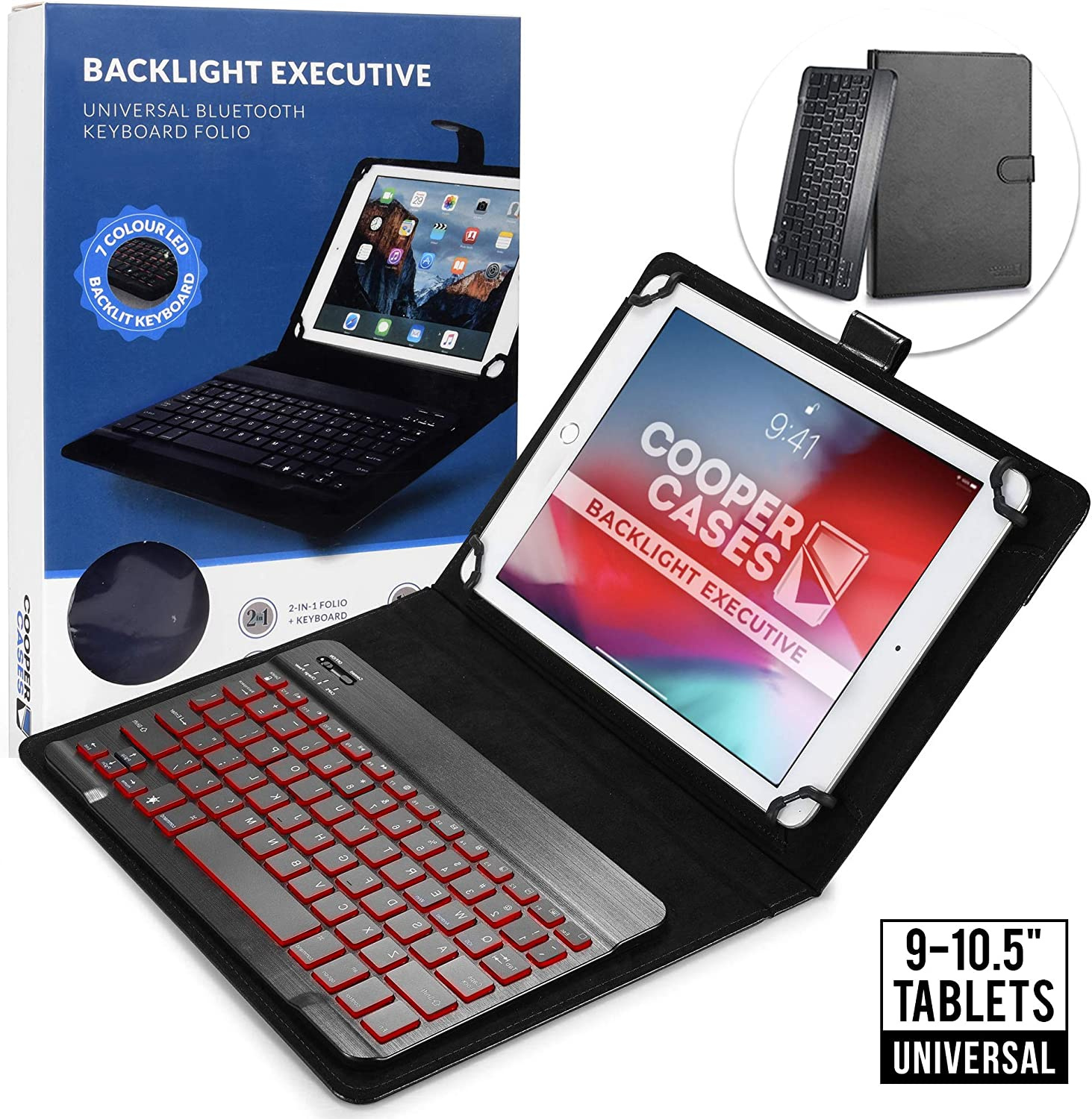 Cooper Backlight Executive Keyboard Case for 9-10.5 inch Tablets | Universal Fit | 2-in-1 Bluetooth Keyboard & Leather Folio, 7 Color Backlit (Black)