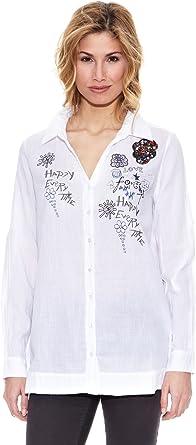 Peace & Love Camisa Bordada Lisa Blanco M: Amazon.es: Ropa y ...