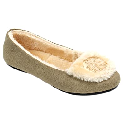 AMY Womens Moccasins Slip On Indoor Outdoor Embellished Loafer Shoes Slippers (8, Beige)