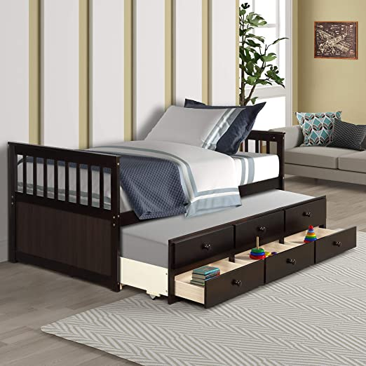 Amazon Com Twin Captain S Bed Storage Daybed With Trundle And Drawers For Kids Teens And Adults Espresso Kitchen Dining