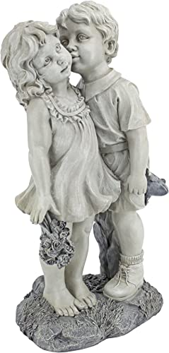 Design Toscano NG30739 Young Sweethearts Kissing Children Outdoor Garden Statue