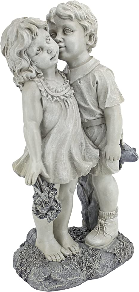 Amazon.com : Design Toscano NG30739 Young Sweethearts Kissing Children Outdoor Garden Statue, 22 Inch, Two Tone Stone : Outdoor Statues : Garden & Outdoor