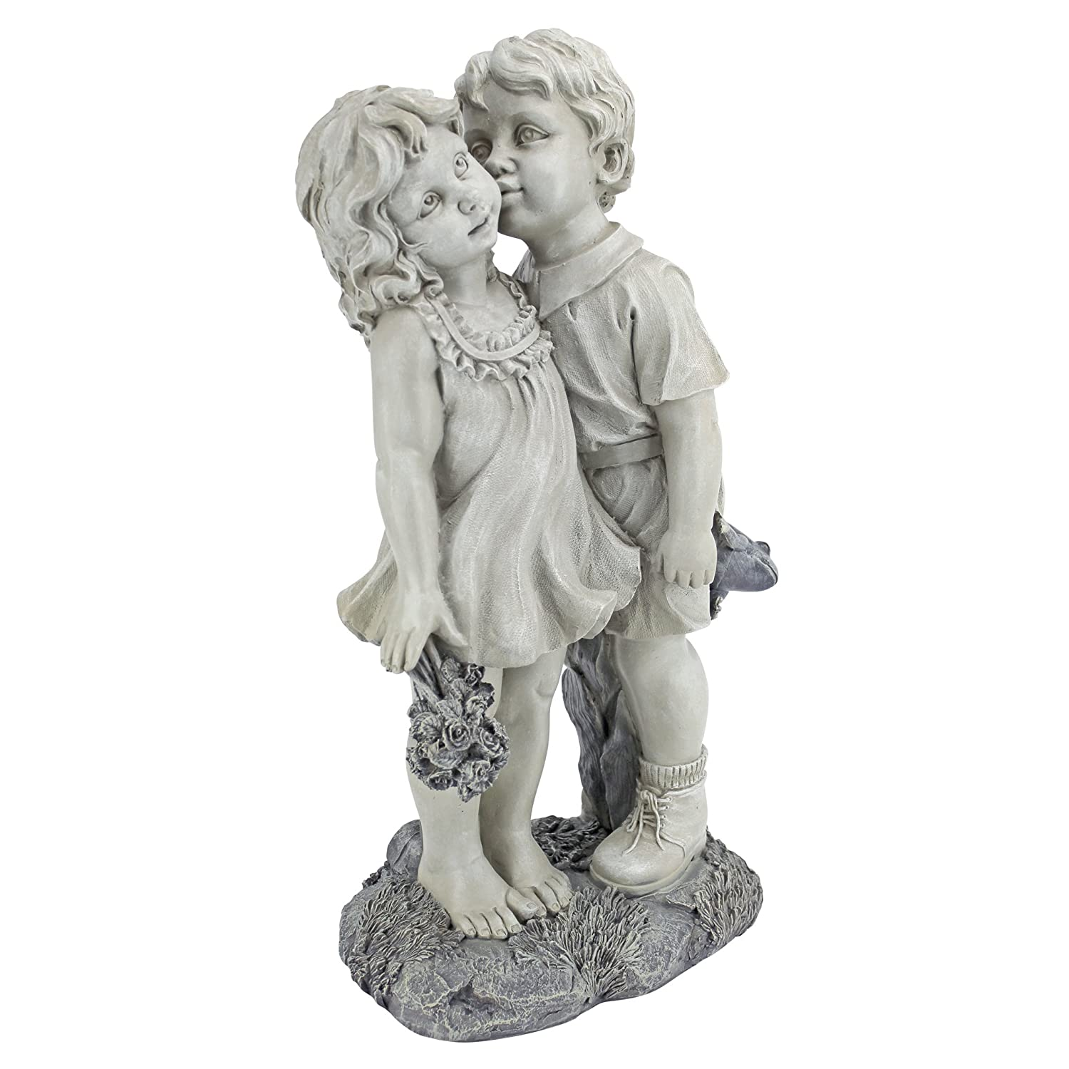 Design Toscano Young Sweethearts Kissing Children Outdoor Garden Statue, 22 Inch, Polyresin, Two Tone Stone