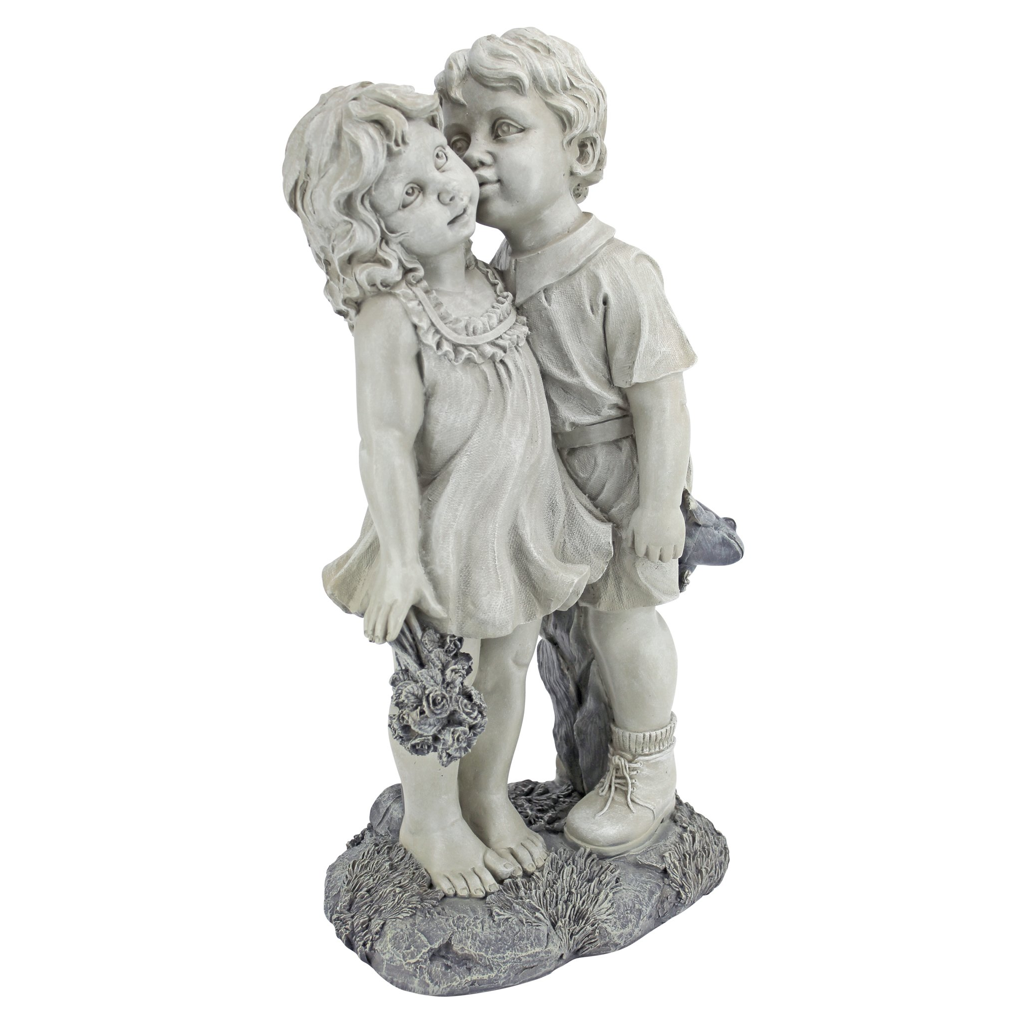 Design Toscano NG30739 Young Sweethearts Kissing Children Outdoor Garden Statue, 22 Inch Two Tone Stone
