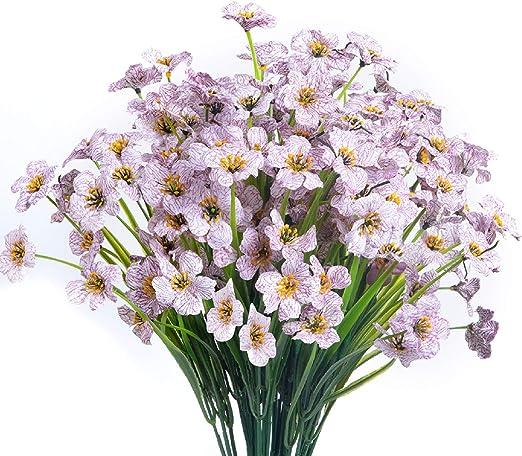 Amazon Com Yuesuo 15 Bouquets Artificial Flowers Outdoor Uv Resistant Fake Flowers No Fade Faux Plastic Plants Garden Porch Window Box Decorating White Home Kitchen