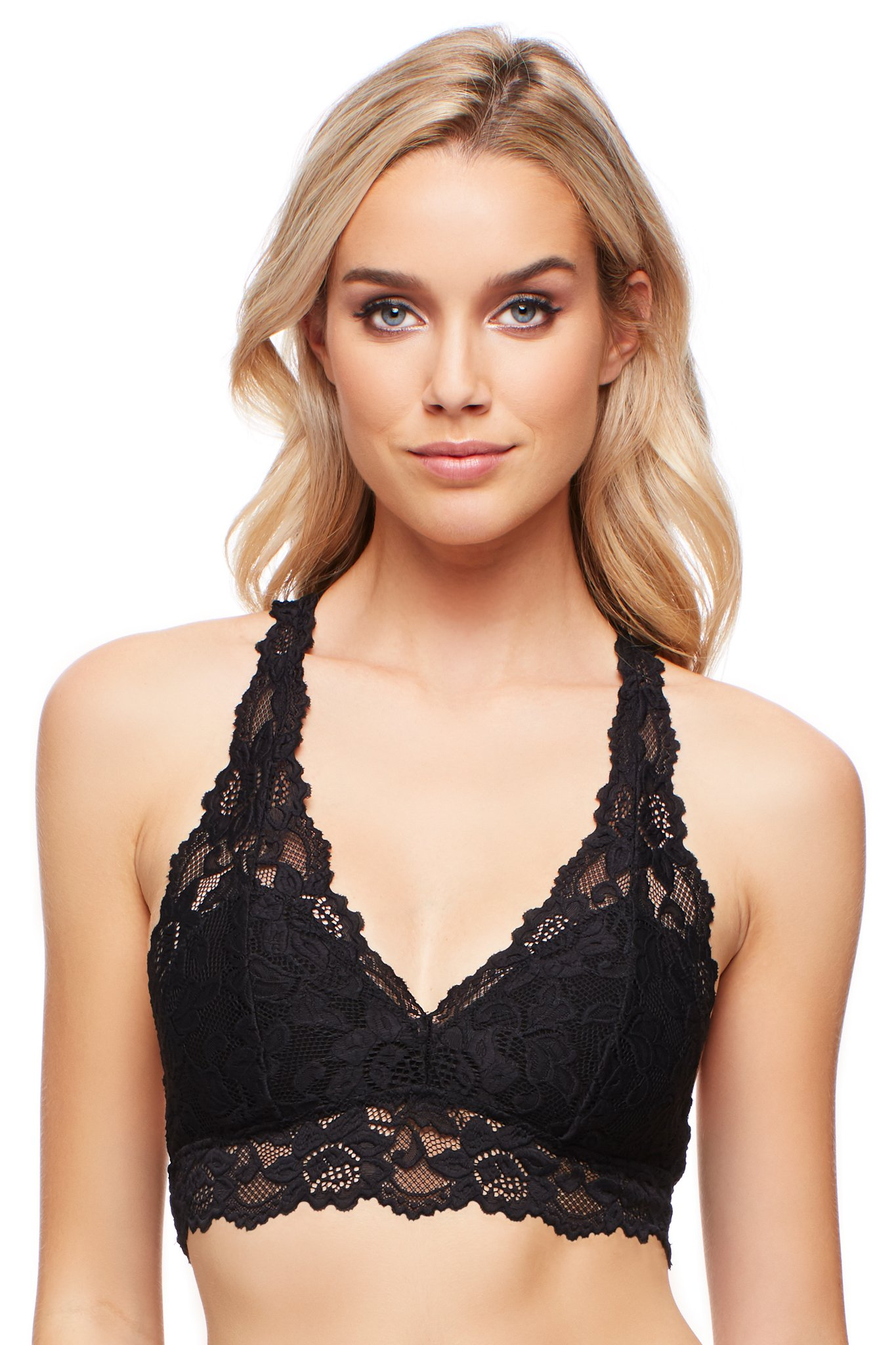 Jenny Jen Sexy Lace Mia Hourglass Racerback Bralette for women,Large,Jet Black
