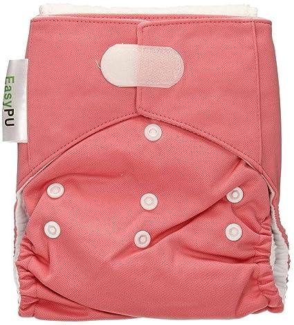 EASYPU Pañales lavables rosa- Súper versátiles y absorbentes - Con tela de microfibra - Producido