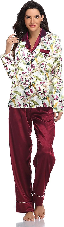 SHEKINI Womens Satin Silk Lace Kimono Robes Pajamas Set Bridesmaids Nightgown Sleepwear