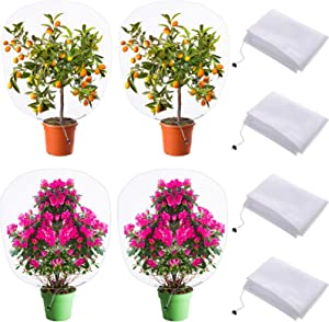 4 Pieces Bird Barrier Netting Mesh with Drawstring Netting Plant Cover Garden Flower Screen Barrier Bag Fruit Protection Net Bag for Protecting Vegetable Plant Flower Fruit (59 x 39 Inch)