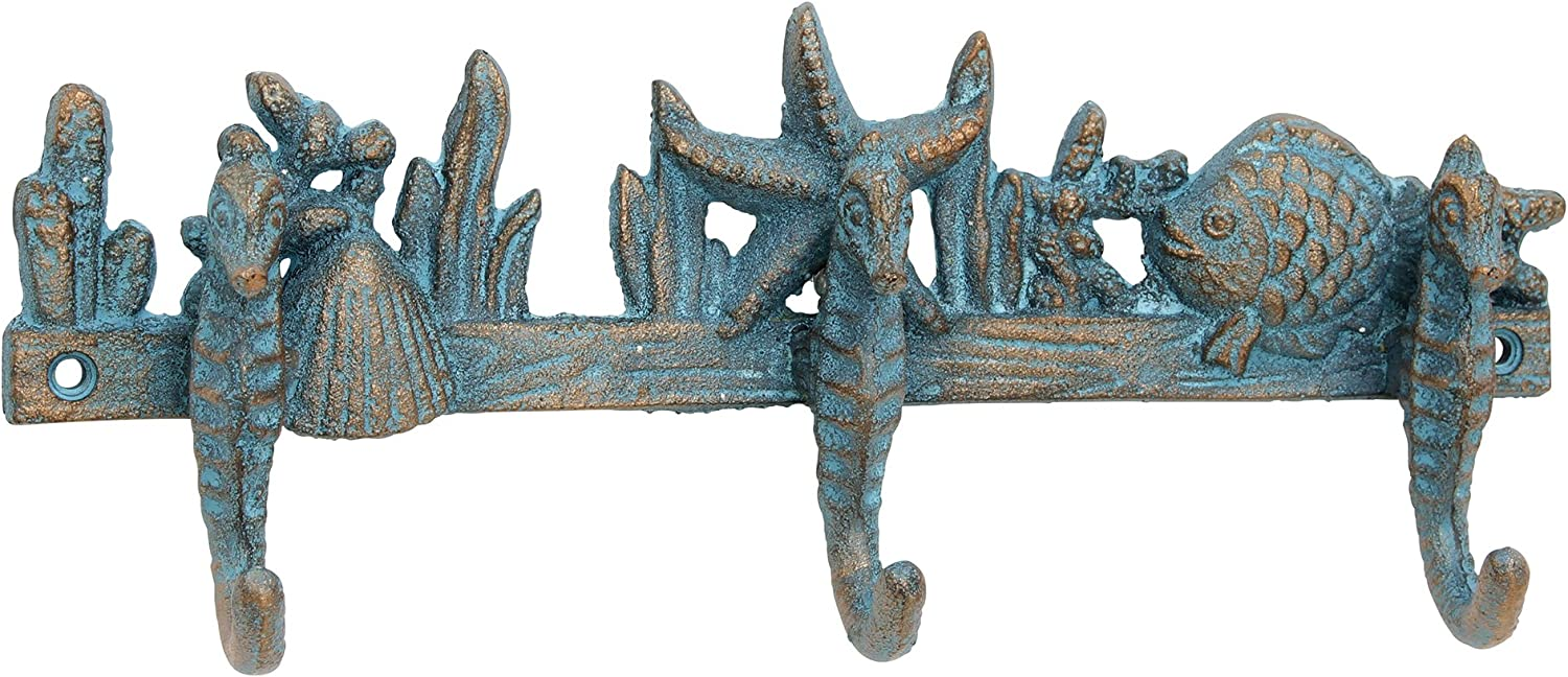 Beach House Turquoise Cast Iron Wall Hooks