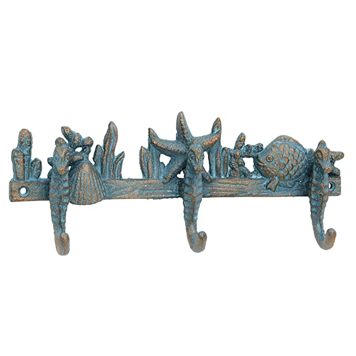 Stonebriar Cast Iron Seahorse Decorative Wall Hook Row, Unique Nautical Design, Turquoise with Bronze Highlights, For Entryway, Bathroom, or Kids Room