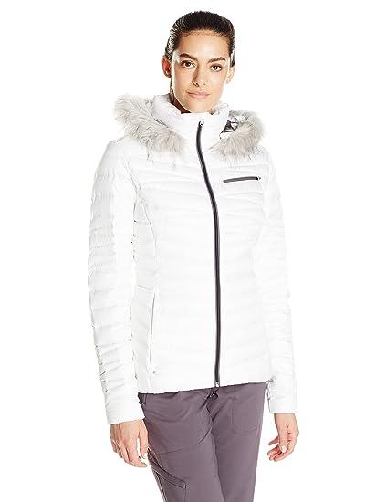Spyder mujer atemporal Down sudadera con capucha pelo sintético Overcoat, mujer, 868113, White