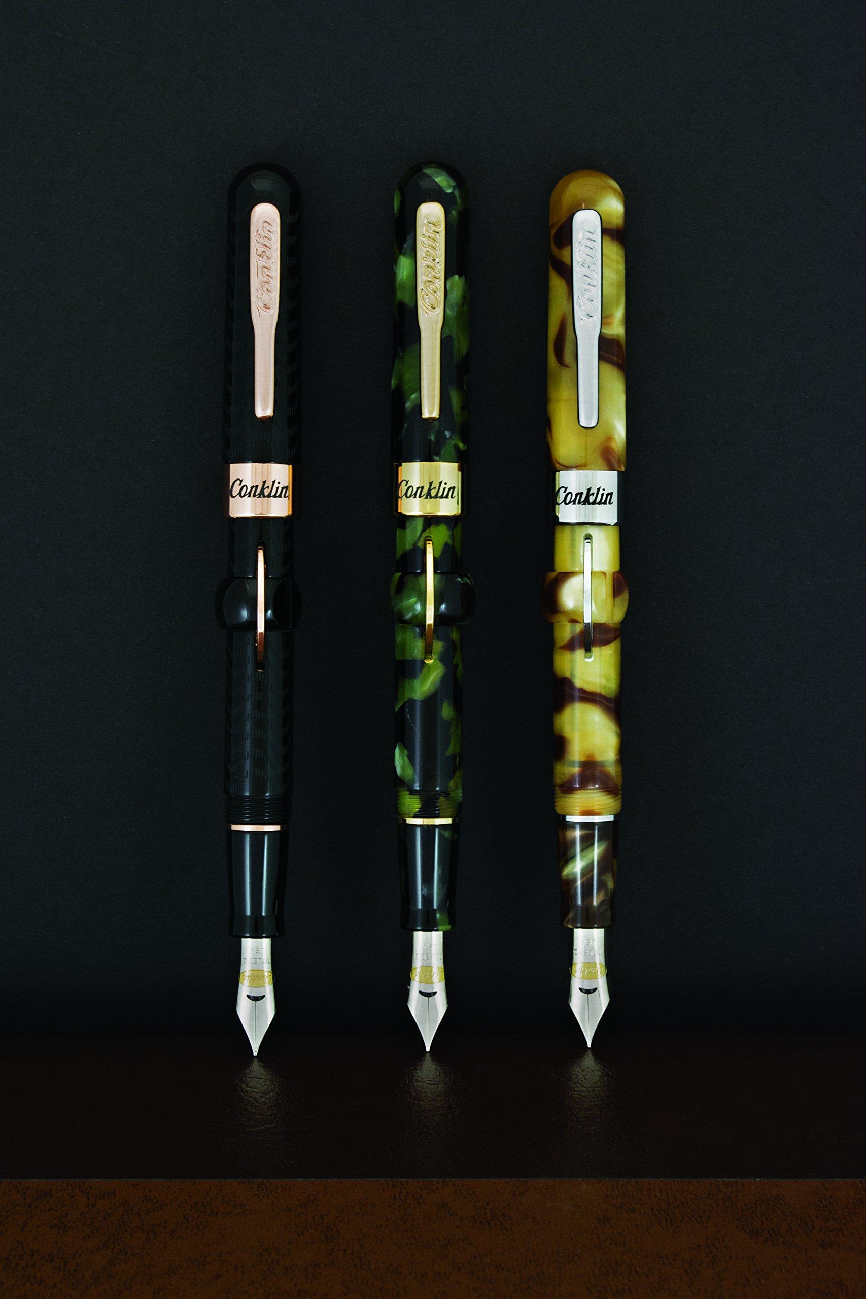 Conklin Mark Twain Crescent Fountain Pen, Black Chased with Rose Gold Trim, Fine Nib (CK71137) by Conklin (Image #3)