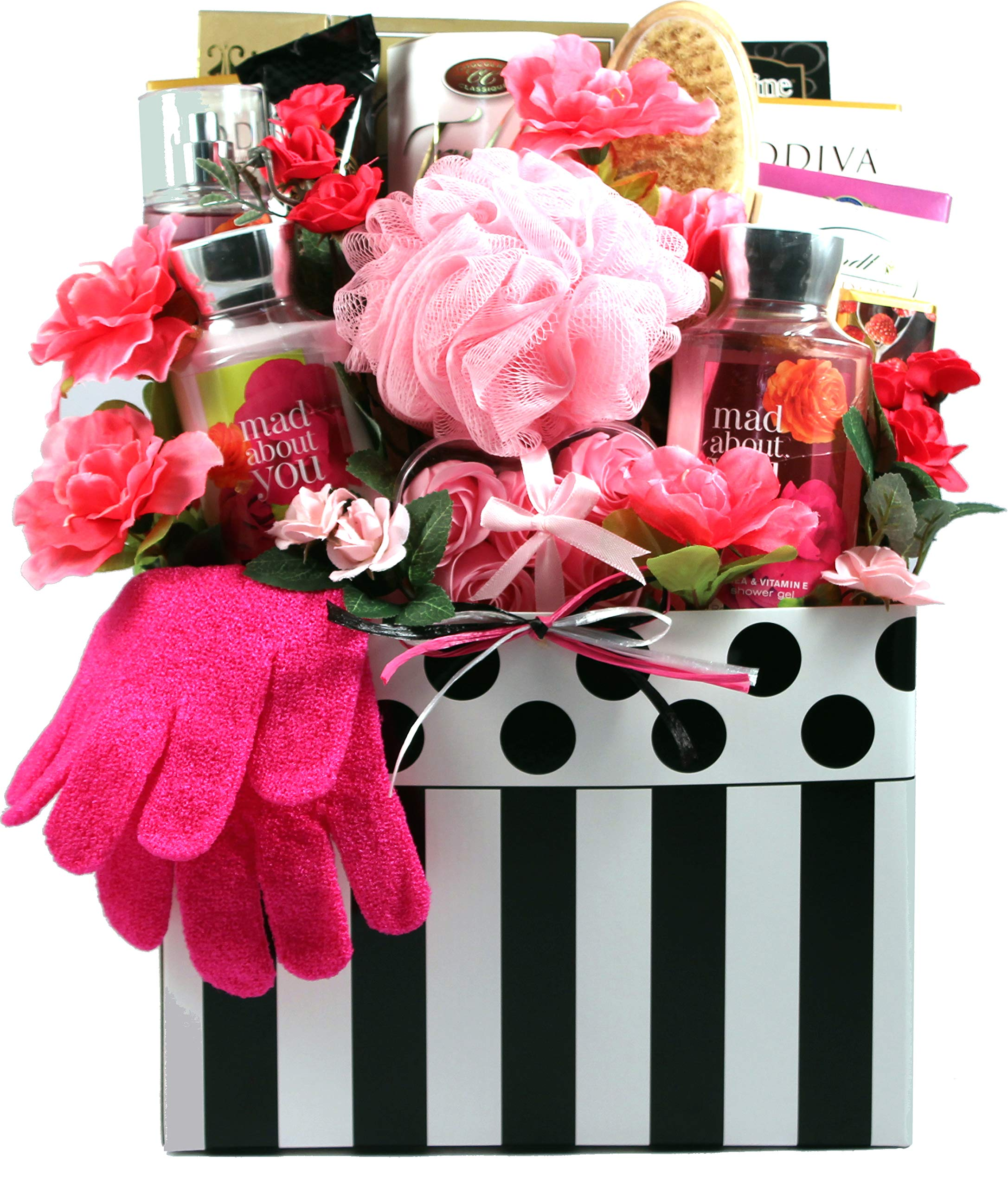 Gift Basket Village - Mad About You, Deluxe Bath & Chocolate Gift Basket For Her - With Spa Quality Personal Care Products & Mouthwatering Chocolates (Large) by Gift Basket Village