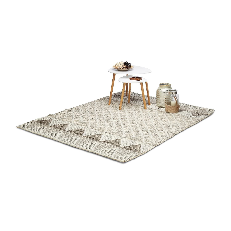 Relaxdays Teppich Wohnzimmer, Webteppich beige mit Muster, handgewebter Schurwollteppich, Schurwollteppich, Schurwollteppich, 160 x 230 cm, mehrfarbig be5cb3