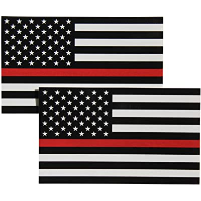 Thin Red Line Flag Decal - 3x5 in. Black White and Red American Flag Sticker for Cars Trucks and SUVs - In Support of Firefighters and EMTs (2-Pack): Automotive
