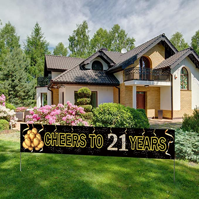 Cheers to 21 Years Birthday Banner - Black Gold (9.8feet X 1.6feet)