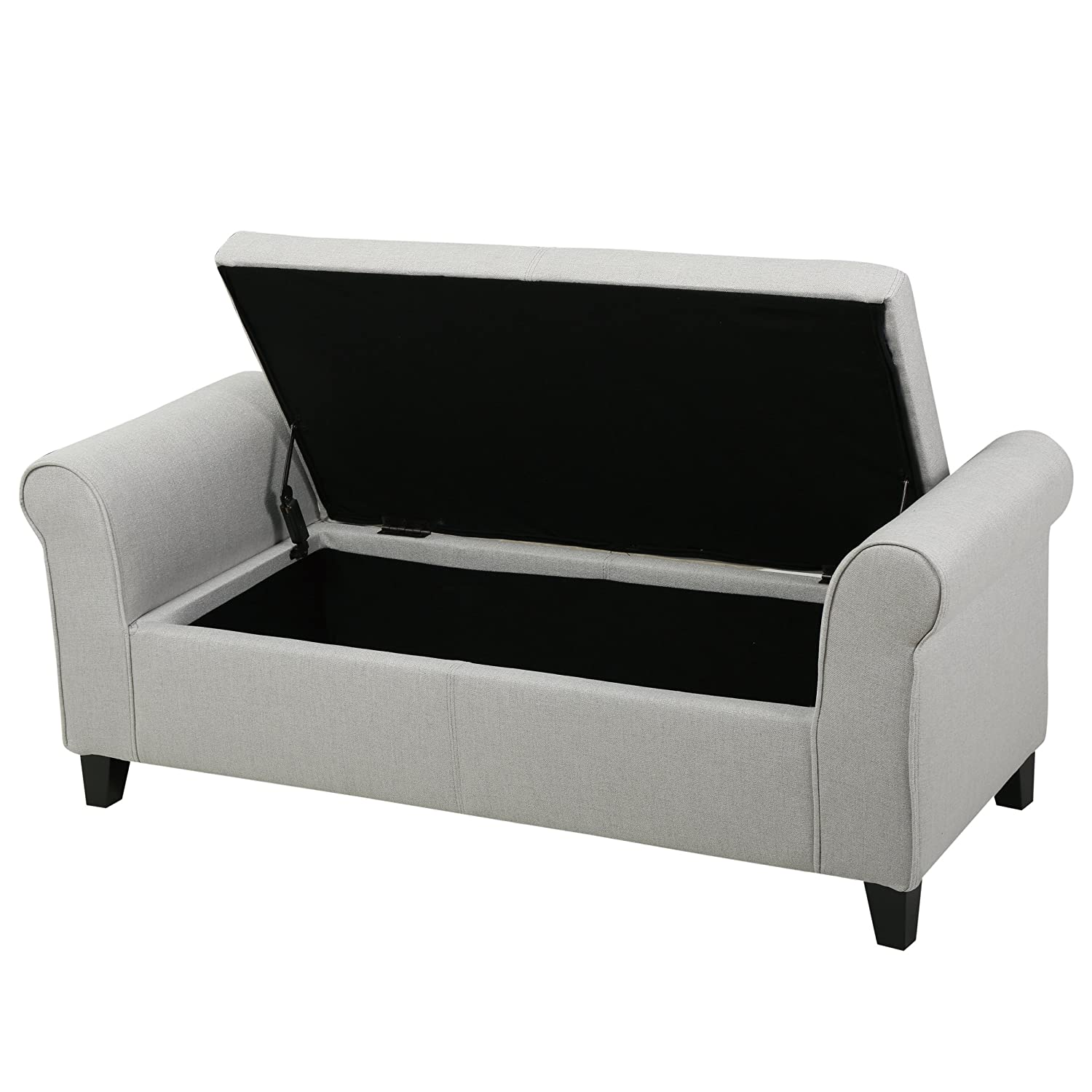 Genial Amazon.com: Danbury Light Grey Fabric Armed Storage Ottoman Bench: Kitchen  U0026 Dining