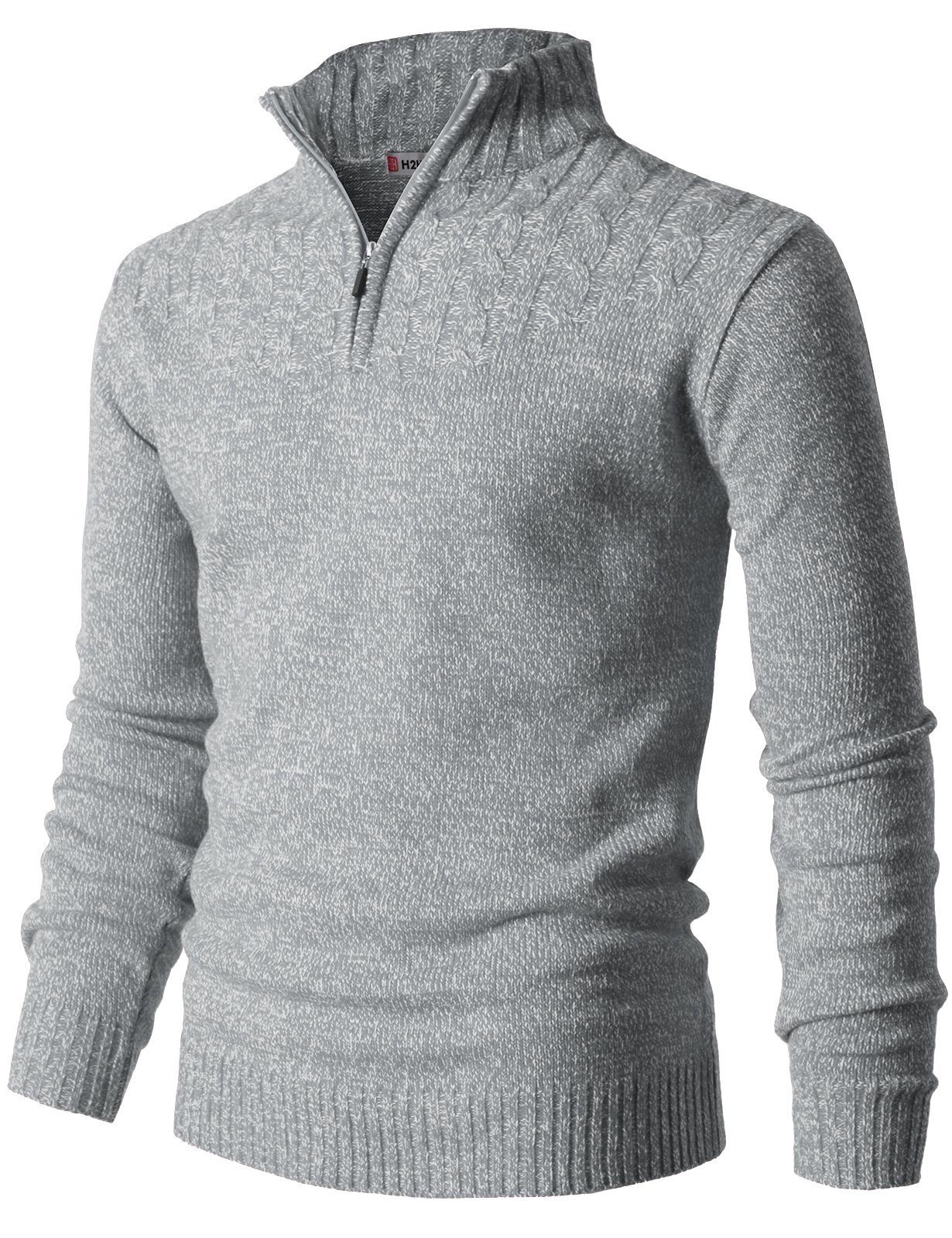 H2H Mens Casual Half Zip with Twisted Knitted Long Sleeve Pullover Sweater Gray US M/Asia L (CMOSWL027)