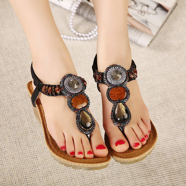 DQQ Womens Black Heel Wedge Sandal 6.5 US