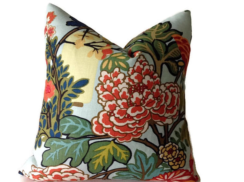 "Schumacher Fabric Cushion Cover /'CHIANG MAI DRAGON JADE/' 100/%Linen 18/""//20/""//22/"""