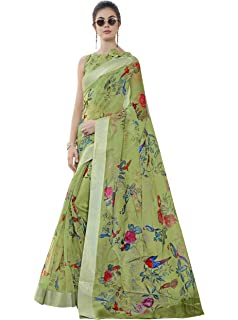 1a27129a94 Miraan Women's Organza Printed Saree with Blouse Piece (STB23ORG, Green)