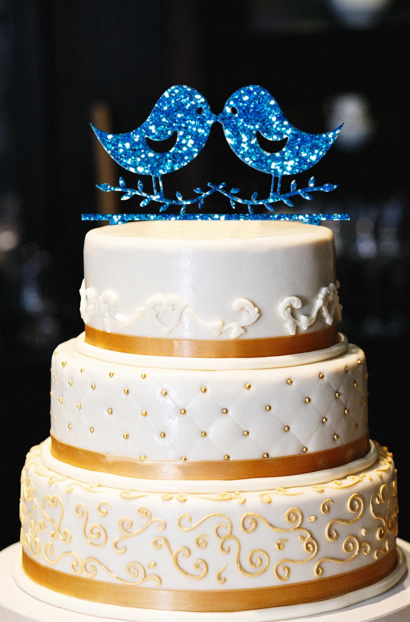 Love Birds Cake Topper, Wedding Cake Topper, Engagement Cake Topper, Anniversary Cake Topper, Gold Cake Topper, Gold Glitter Cake Topper (15'', Glitter Royal Blue)