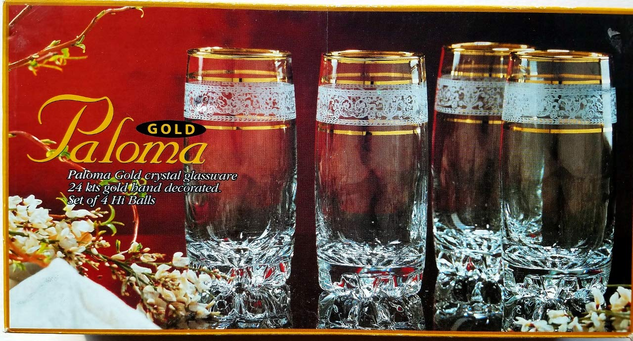 24 kt Gold Hand Decorated Paloma HiBall Glasses Set of 4