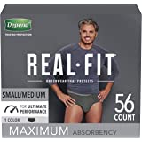 Depend Real Fit Incontinence Underwear for Men, Maximum Absorbency, Disposable, Small/Medium, Black, 56 Count (Packaging May Vary)