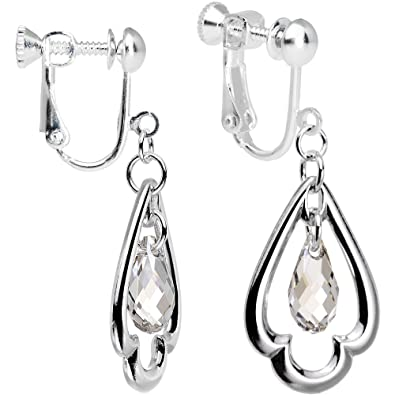 64e520f3c Amazon.com: Body Candy Handcrafted Silver Plated Clear Trefoil Clip On  Earrings Created with Swarovski Crystals: Jewelry