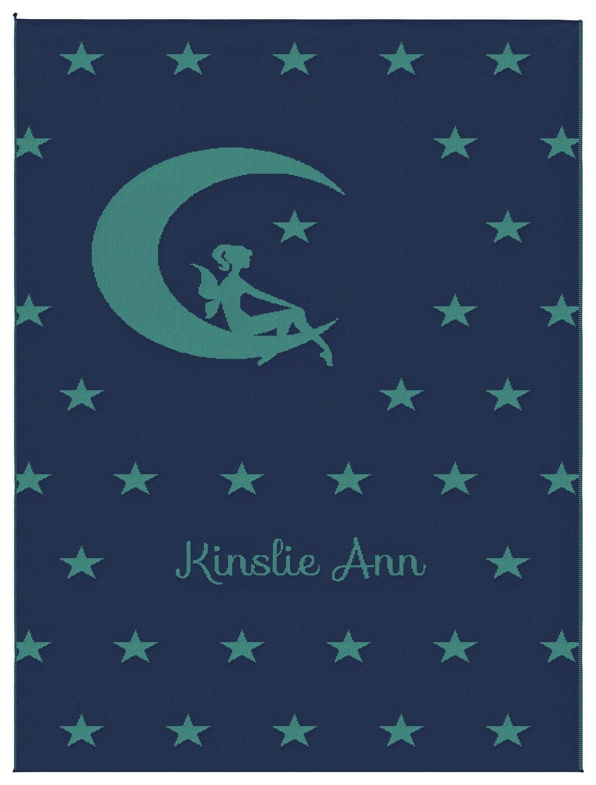 Emji Luxury Knit Baby Blanket with Fairy Stars, Customized Girl's Name Stroller Blanket, 100% Cashwool Merino Wool, Blue and Sea Green