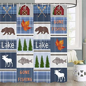 Rustic Lodge Shower Curtain, Country Style Wildlife Animal Bear Moose Deer Shower Curtain for Bathroom, Cabin Shower Curtain Farmhouse Bathroom Decor, Country Bath Curtain Set with Hooks, 69