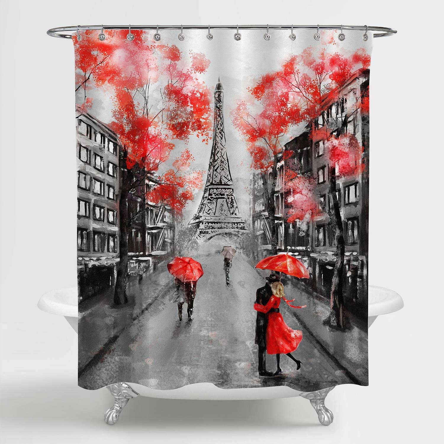 Amazon Com Mitovilla Paris Eiffel Tower Shower Curtain For Paris Bathroom Decor Vintage French Citysapce Oil Painting Bathroom Accessories Paris Gifts For Women And Teen Girls Red Black 72 W X 72 L