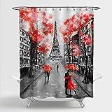 MitoVilla Paris Eiffel Tower Shower Curtain for Paris Bathroom Decor, Vintage French Citysapce Oil Painting Bathroom…