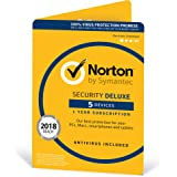 Norton Security Deluxe Antivirus Software 2018 / Anti-Virus Protection for 5 Devices (One-Year Licence) / Download for Mac, Windows, iOS and Android