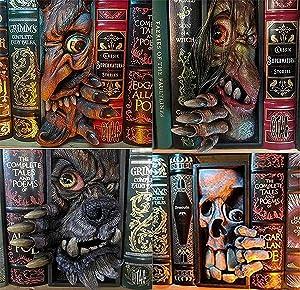 4PCS Peeping Bookshelf Monster, Peeping On The Bookshelf Personalized Bookends, Personalized Creative Resin Decorative Bookends Monster, for Home Office Book Shelf Holder
