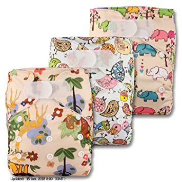 Set of 3 with 6 Microfibre Inserts Reusable Pocket Cloth Nappy Littles /& Bloomz Patterns 306 Fastener: Hook-Loop