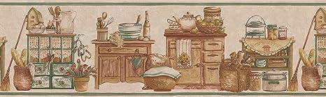 Cream Green Countrystyle Kitchen Wallpaper Border 77729 BT