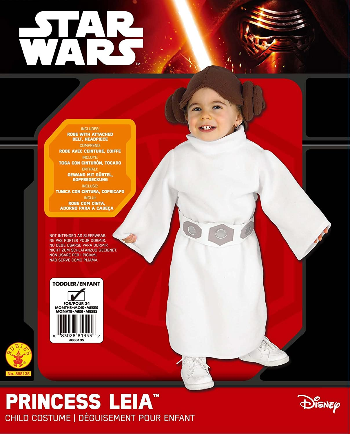 Amazon.com: Rubies Star Wars Princess Leia Pelele, blanco ...