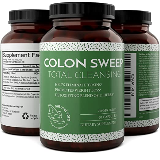 Colon Cleanse Detox Supplement for Men and Women Lactobacillus Acidophilus Probiotics - Gentle Digestion Support with Pure Psyllium Husk Oat Alfalfa Rhubarb and Aloe Vera - 60 Capsules by Natural Vore