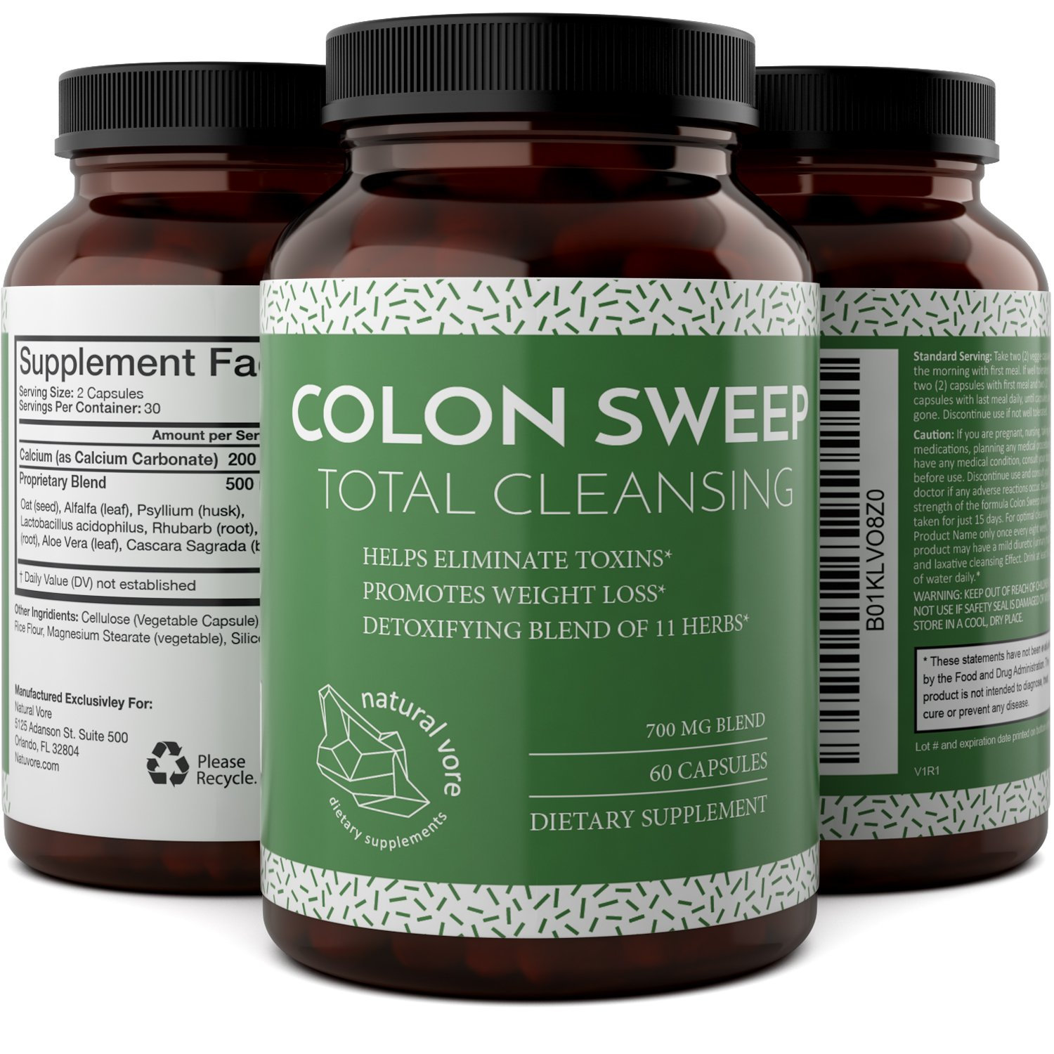 Natural And Pure Colon Cleanse Detox Supplements With Bentonite + Calcium + Psyllium Husk - Boost The Digestive System And Enhance The Immune System - Colon Cleanse Pills With Alfalfa By Natural Vore