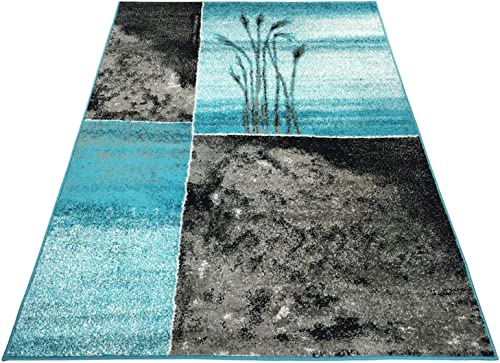 Designer Collection Wheat Nature Design Modern Contemporary Area Rug Rugs 3 Options Turquoise Blue, 7 10 x9 10