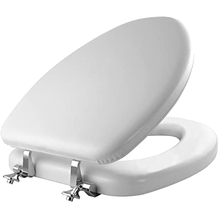 Swell Mayfair Soft Toilet Seat With Chrome Hinges Elongated Padded With Wood Core White 113Cp Alphanode Cool Chair Designs And Ideas Alphanodeonline