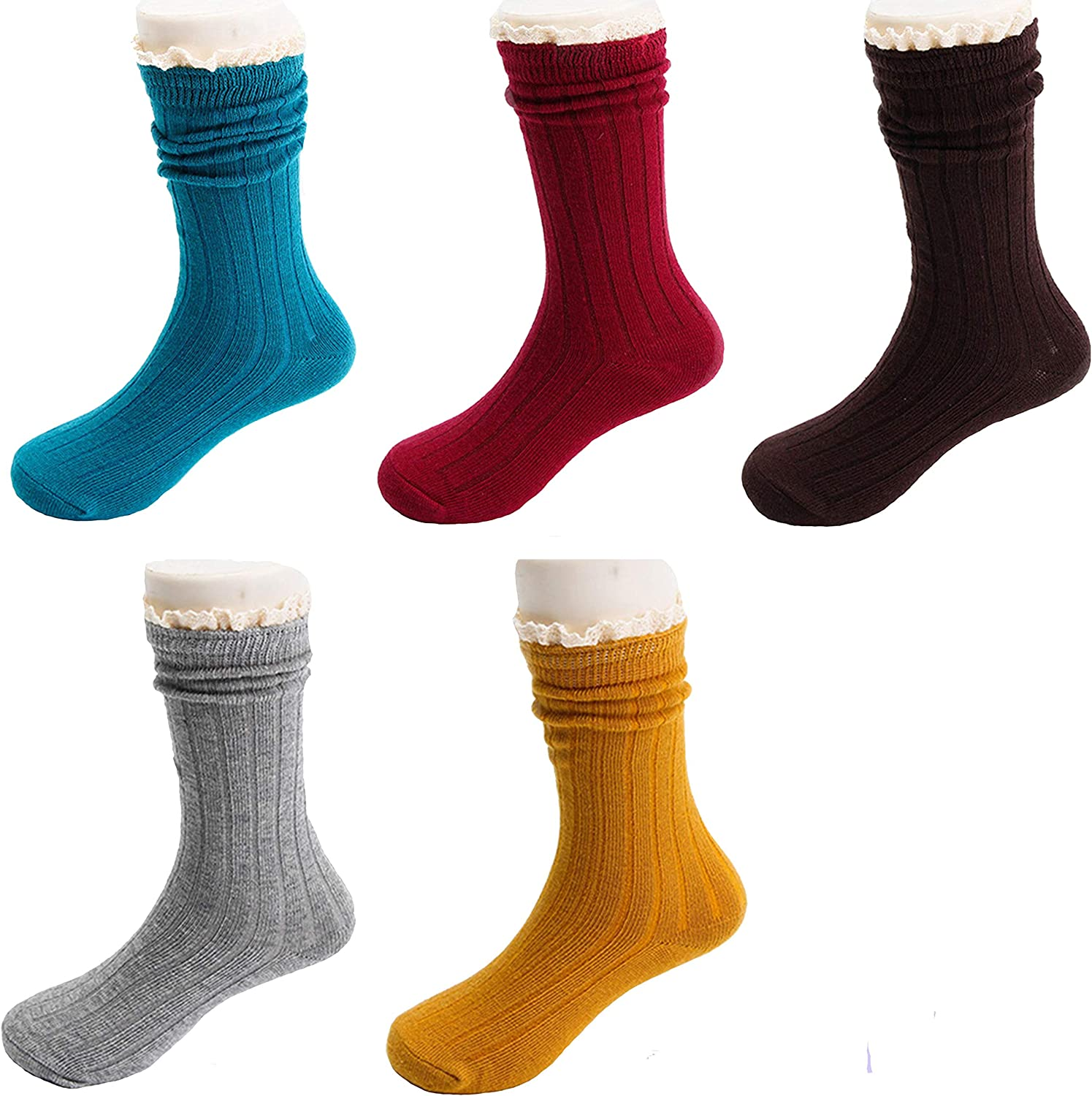5 Pack Girls Sweet Socks Lace Trim Cotton Knit Footed Leg Boot Stocking (6-8 years)