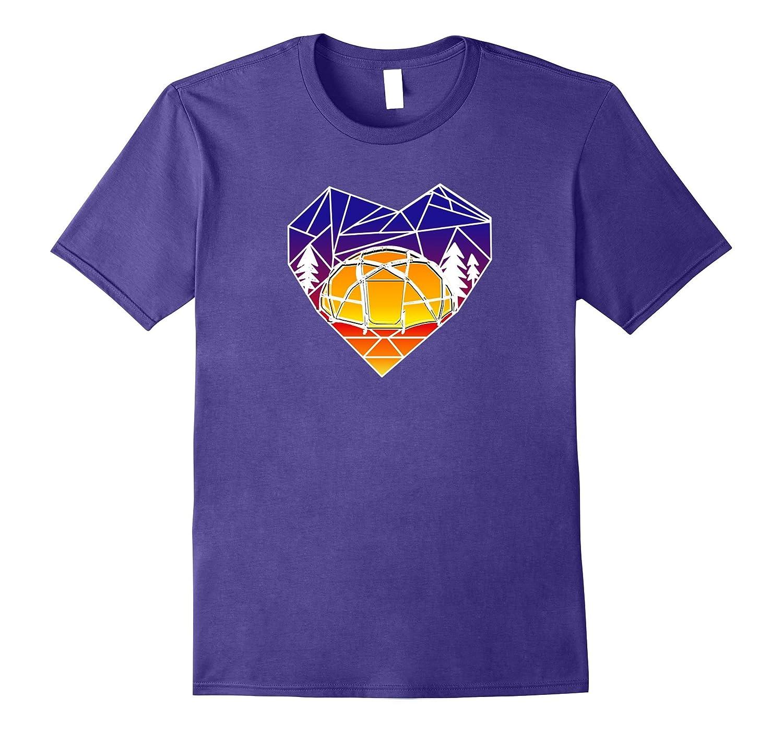 Mountains Geometry Heart T-Shirt Camping Sunset Tee-FL