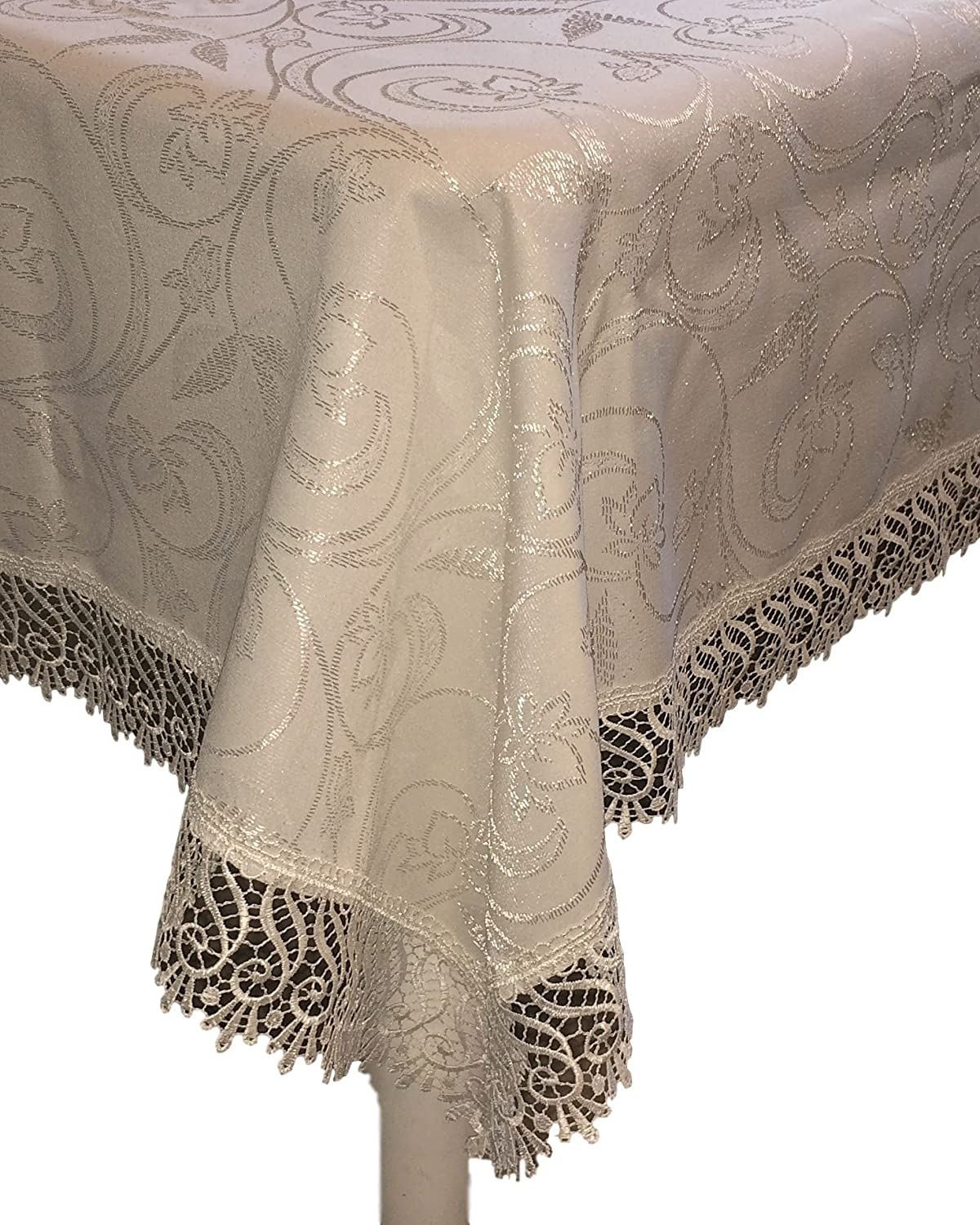 Christmas Tablescape Décor - Classic elegant ivory lace edged rectangular tablecloth