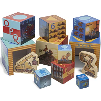 """Goodnight, Goodnight, Construction Site Stacking Nesting Block Set with Wood Shaped Vehicles, 6"""" : Baby"""