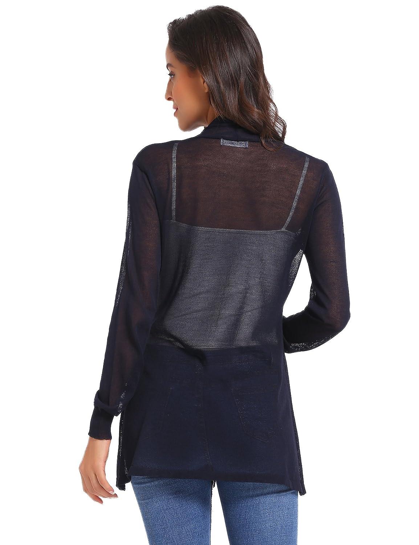 Veste Femme Lin Gilet Cardigan Femme Tricot avec Poches Manches Longues Outwear /Él/égante Ouvert Vintage