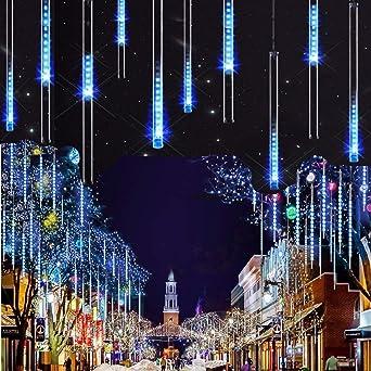 Azul DINOWIN Meteoros Lluvia Luces,360LEDs Tubo de Luces Solar Luces Jard/ín Impermeable Guirnalda de Luzs,Cadena para Fiesta de Boda de Decoraci/ón del /árbol de Navidad