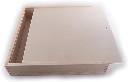 SEARCHBOX Gran Caja de Madera con Tapa Deslizante/Almacenamiento/Madera/ Madera de Pino Natural 33 x 33 x 6 cm: Amazon.es: Hogar